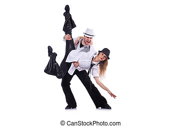 Pair of dancers dancing modern dance isolated on white