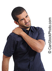 Arab man complaints with shoulder ache isolated on a white...