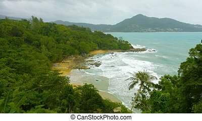 Laem Sing beach, Phuket island, Thailand. Top view. Rainy...
