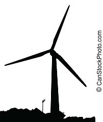 Wind Power - A wind powered generator on a white background