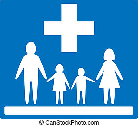 family medicine icon - blue medical background and white...