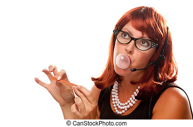 Red Haired Retro Receptionist Blowing a Bubble Isolated on a...