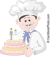 Cartoon cook with holiday wedding cake - Cartoon cook chef...
