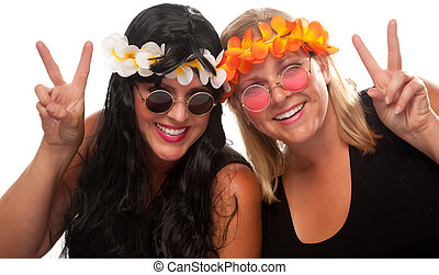 Two Beautiful Hippie Girls with Peace Signs Isolated on a...