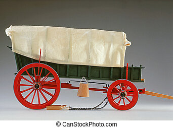 Ox-drawn wagon scale model - Side-view accurate scale model...