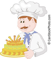Cartoon cook with holiday cake - Cartoon cook chef with...