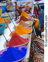 Egypt spice market - Colourful spices at food market in...