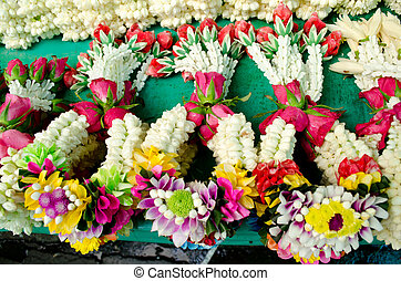 Thai style garland at flower market in Thailand