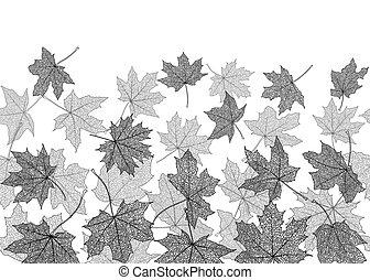 Seamless monochrome autumn leaves - Horizontal seamless...