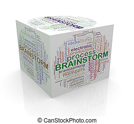 3d cube word tags wordcloud of brainstorm