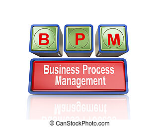 3d boxes of concept of bpm