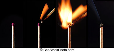 BURNING MATCHES sequence - One match causes another to catch...