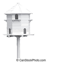 Bird House - A bird hiuse isolated on a white background