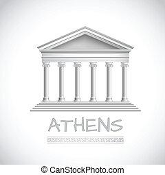Athens temple emblem - Athens emblem with realistic antique...
