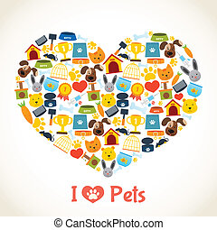 Pets care concept - I love pets heart concept with comfort...