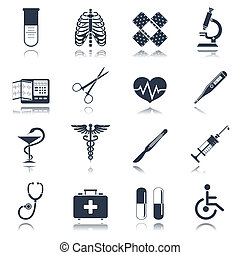 Medical icons set - Medical emergency first aid care black...