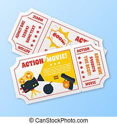 Action movie tickets set - Action movie film cinema...