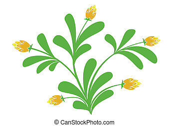 green plant with orange flowers - vector green plant with...