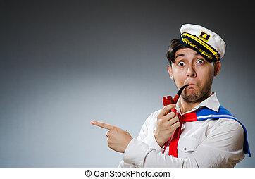 ENGRAÇADO, capitão, marinheiro, Desgastar,...