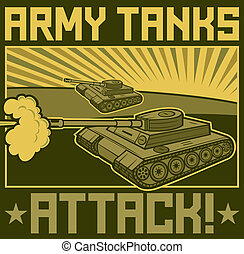 military tanks poster, tanks in action design, army tanks...