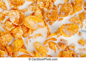 Cereal Flakes with milk background .