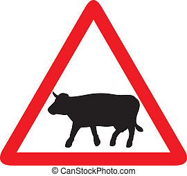 cow warning traffic sign