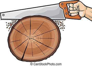 cutting tree with hand saw, hand with hand saw