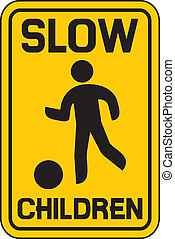 children slow traffic sign