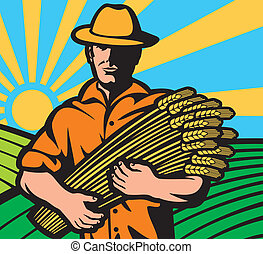 farmer worker holding a wheat
