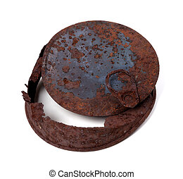Old rusty tin can. Isolated on white background.