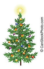 Christmas spruce fir tree with ornaments - Christmas holiday...