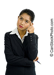 business woman thinking - beautiful young asian...