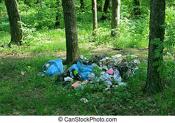 Garbage in the forest - A pile of garbage in the forest