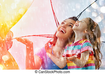 autumn rain - the family enjoys the rain