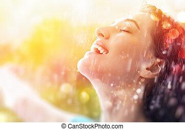 autumn rain - a smiling woman happy rain