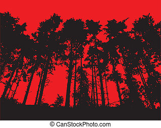 Tree Line - A tree line set against a red background