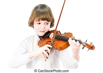 School child playing violin, isolated on white