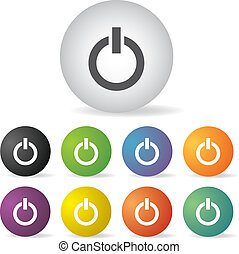 power switch off icon set - power switch off button icon set...