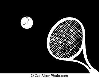 Tennis racket silhouette with ball as symbol of tennis