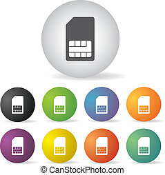 sim card symbol set - sim card symbol button set