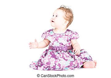 美しい, 服, わずかしか, 紫色, 隔離された, 女の子, 白