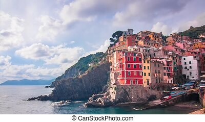 riomaggiore cityscape timelapse - view of one of the famous...