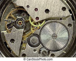 Macrophoto of old clockwork background - Macrophoto of a...