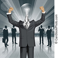 Vector Lamp Head Businessman With Hands Up - Vector happy...