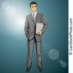 Vector Businessman With Laptop - Vector business man in suit...