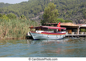 Boat tour in Dalyan River, Koycegiz, Mugla, Turkey