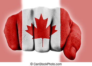 fist with canadian flag
