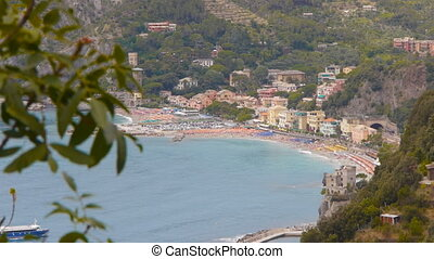 view of monterosso liguria italy - view of one of the famous...