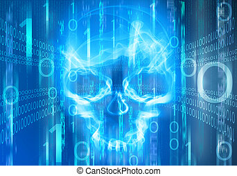 blue digital abstract background with skull