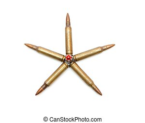 Five-pointed star of 5.56mm assault rifle cartridges isolated